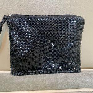 LuLu Black Soft Sequin Evening Wristlet Bag